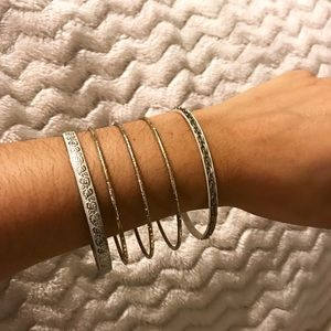 White & Gold Bangles (set of 5)